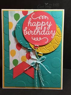 Balloon Framelits, May 2015 Paper Pumpkin (sentiment), Large Polka Dots, Lucky Stars & Happy Heart EFs, Cherry on Top DSP, Baker's Twine (Bermuda Bay), Banner Triple punch, White embossing powder - FMS197