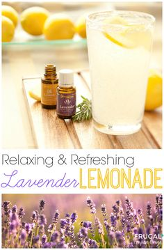 Lavender Lemonade Recipe using Essential Oils. Summer-time Drink with health boosting ingredients. Details on Frugal Coupon Living.