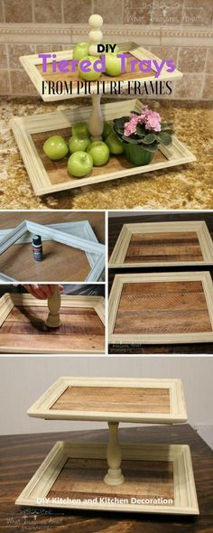 Fun, Easy, DIY Kitchen Projects and Ideas That Won't Break the Bank Check out the tutorial: Tiered Trays from Picture Frames /istandarddesign/Tier 1 Tier 1 or Tier One may refer to: Home Crafts, Diy Home Decor, Diy And Crafts, Room Decor, Upcycled Crafts, Diy Simple, Easy Diy, Creation Deco, Ideias Diy