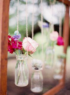 hanging flowers in bud vases Wedding Vases, Wedding Themes, Diy Wedding, Rustic Wedding, Wedding Flowers, Dream Wedding, Wedding Ideas, Hanging Vases, Hanging Flowers