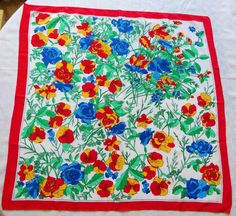 Vintage Scarf Bright Colors Flowers Multi Colored by