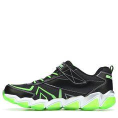 Skechers Kids' Skech Air Rupture Memory Foam Sneaker Pre/Grade School Shoes  (Black/Lime Leather)