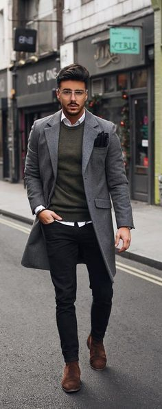 - with a fall business casual combo with a gray overcoat black leather gloves gray sweater white button up shirt black slim cut denim brown suede chelsea boots - - Cool Outfits For Men, Stylish Mens Outfits, Business Casual Outfits, Business Casual For Men, Trendy Mens Fashion, Men Fashion, Style Fashion, Herren Style, Herren Outfit