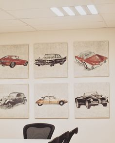 Classic cars, decorative acoustic wall panels/ Papurino / Anna Tuomela 2017