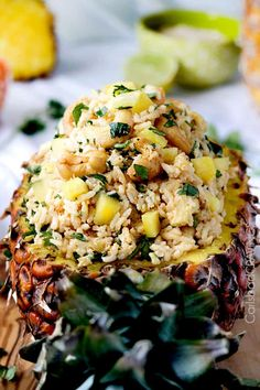 Sweet slightly creamy Hawaiian Pineapple Coconut Cashew Rice cooked in pineapple juice crushed pineapple and coconut milk. Pineapple Coconut, Coconut Rice, Pineapple Juice, Crushed Pineapple, Lemon Coconut, Coconut Water, Vegetarian Recipes, Cooking Recipes, Healthy Recipes