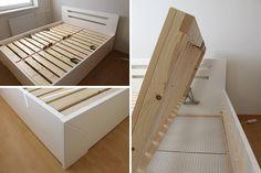 postel z masivu s úložným prostorem - Rosemary 160x200 bílý lak matný, boční výklopné rošty