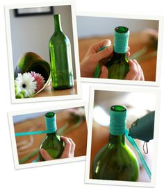Google Image Result for http://something2writeabout.files.wordpress.com/2012/07/nooksea-nookandsea-wine-bottle-project-wrapped-ribbon-blue-craft-green-gerber-daisie-flowers-glue-gun-vase-onehope-wine-weddings-blog-wedding-decor-home2.jpg