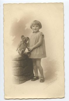 Young Child Girl with Teddy Bear original old 1920s Private photo postcard