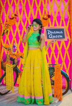This Bride's Mehandi was a Fun-O-Holic Fiesta Bridal Poses, Bridal Photoshoot, Wedding Poses, Wedding Ideas, Wedding Pictures, Desi Wedding Decor, Indian Wedding Decorations, Indian Weddings, Wedding Photo Booth