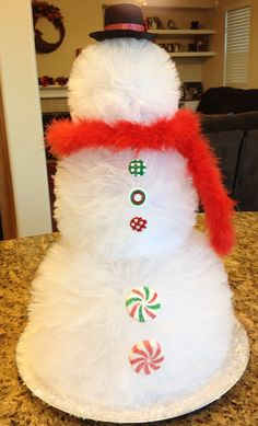 Pom Pom Snowman by DuckyDuckDiaperCakes on Etsy