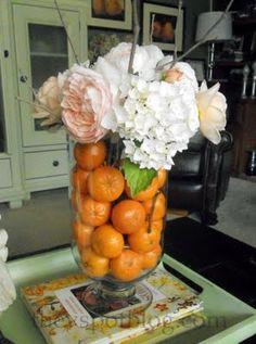 The V Spot: Easy floral arrangement using fruit & flowers.