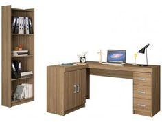 Conjunto Liberdade 2 Portas 3 Gavetas Politorno - com Mesa para Computador/Escrivaninha e Estante