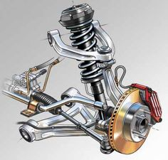 Technical illustration of automotive front suspenion and brake assembly. This illustration was created for a textbook cover.