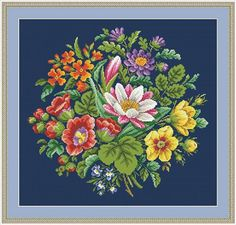 Berlin Woolwork Multifloral Bouquet 2 Antique by MyTreasureIsland