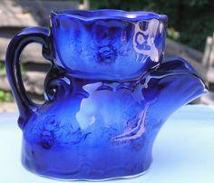 Vintage Flow Blue Scuttle Shaving Mug Staffordshire England Rose Pattern