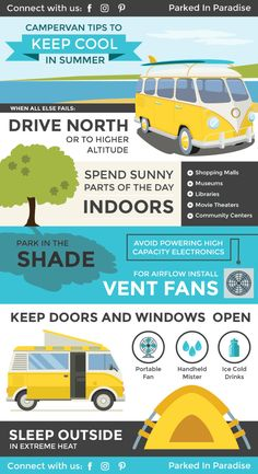 Van Life Discover Tips And Tricks To Stay Cool In A Van During Summer Great list of tips and tricks to stay cool in the summer! All of these hacks will be perfect for hot weather when I start my own campervan build. Perfect camper tips! Bus Life, Camper Life, Diy Camper, Family Camping, Rv Camping, Camping Hacks, Camping Water, Glamping, Camping Ideas