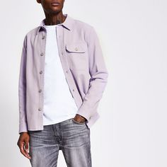 Purple long sleeve denim overshirt | River Island