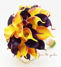 Fall Wedding Real Touch Calla Lily Bridal Bouquet Burnt Orange and Plum with Burlap and Ivory Lace Wrap - Autumn Bridal Bouquet Real Touch Calla Lily Bridal Bouquet, Bridal Bouquet Fall, Bridesmaid Bouquet, Bridal Bouquets, Wedding Bouquet, Wedding Dresses, Purple And Gold Wedding, Orange Wedding Flowers, Fall Wedding Colors