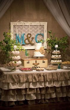 Love the table cloth for this shabby chic #wedding dessert table