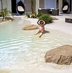 Awesome Natural Small Pools Design Ideas Best For Private Backyard - Backyard pool designs - Beach Entry Pool, Backyard Beach, Small Backyard Pools, Backyard Pool Designs, Small Pools, Swimming Pools Backyard, Ponds Backyard, Swimming Pool Designs, Pool Landscaping