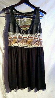 NWOT Urban Renewal Urban Outfitters Faux leather top tweed dress size Large