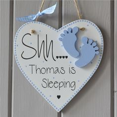 Shh Baby Sleeping Plaque. Personalised baby by FabricLetterCompany