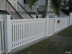 House Fence Design, Wood Fence Design, Picket Fence Gate, White Picket Fence, Front Gates, Front Fence, Brisbane, Timber Fencing, Entrance Ways