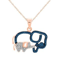 "18K Rose Gold Over Sterling 0.05ct Blue,White Diamond Elephant Pendant 18"" Chain #AffynityHomeshopping #Pendant"
