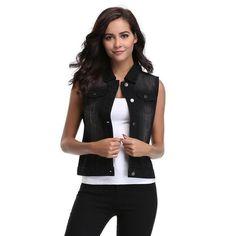 Casual Single Breasted Pocket Front Sleeveless Denim Vest