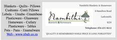 Nambithi Blankets and Homeware - 8 Hamilton Road - Ladysmith +2736 631 0612  Blankets – Quilts - Pillows - Cushions - Conti Pillows - Lobola – Umabo -Umembeso Plasticware - Glassware - Homeware – Cutlery - Plasticware – Tables - Pots – Pans – Enamelware  Colenso – Midlands – Howick – Weenen – Amersfoort – Villiers – Nigel – Benoni – Springs – Secunda – Evander – Trichard – Witbank – Middelburg - Newcastle – Volksrust – Wakkerstroom - Piet Retief – Ermelo – Standerton – Charlestown – Bethal –… Plastic Ware, Kwazulu Natal, Quilted Pillow, How To Plan