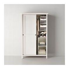 IKEA - HEMNES, Garderobekast 2 schuifdeuren, witgebeitst, , Gemaakt van massief hout, een slijtvast en warm natuurmateriaal.Perfect voor opgevouwen kleding en lange en korte hangkleding.Met opbergers uit de serie SVIRA kan je de binnenkant netjes op orde houden.
