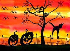Halloween activities: Children use yellow, orange and red to make a striped sunset. Let dry then use a black marker to fill in a Halloween silhouette scene. Theme Halloween, Halloween Arts And Crafts, Spooky Halloween, Halloween Stories, Halloween Activities, Fall Art Projects, School Art Projects, Thanksgiving Art, 4th Grade Art