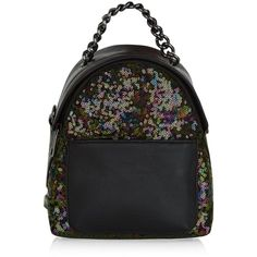 New Look Black Sequin Mini Backpack (£19) ❤ liked on Polyvore featuring bags, backpacks, multicolour, multi color backpack, chain strap bag, colorful backpacks, colorful bags and mini rucksack