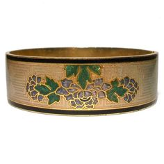 Enamel Bangle Greek Key Peony Floral Guilloché Vintage Cloisonné Hinged Fish Crown Gold Taupe Black