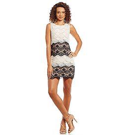 Jessica Simpson Tiered Lace Sheath Dress #Dillards poly ivory/black sz4 148.00