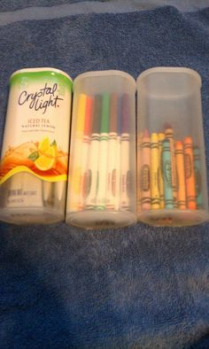 using crystal light containers for grab & go crayons, markers, & colored pencils