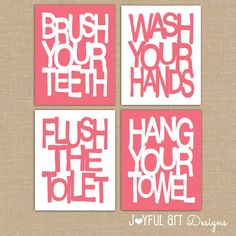 Kids Bathroom Wall Art. Bathroom Rules. Brush Wash Flush Hang Prints. Typography Bathroom Decor Printables. Set of 4 - 8x10 DIGITAL files. $16.00