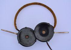 1940s Military Headphones with Bakelite Ear Pieces Vintage Headphones Vintage Radio Vintage Audio Antique Headphones