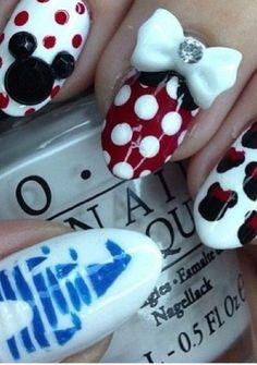 9 Best Disney Nail Art Designs : Minnie Mouse Disney Nails: