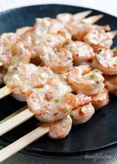 Bangin' Grilled Shrimp Skewers Like Boondocks Bang Bang Shrimp YUM Fish Recipes, Seafood Recipes, Great Recipes, Cooking Recipes, Favorite Recipes, Healthy Recipes, Grilling Recipes, Healthy Grilling, Skinny Recipes