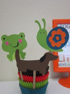 Frogs Snails & Puppy Dog Tails Cupcake Topper by DKDeleKtables, $8.00