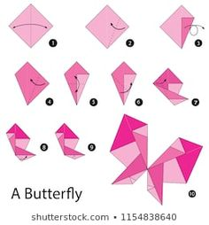 Step by step instructions how to make origami A Butterfly. Step by step instructions how to make origami A Butterfly. Cartoon Elephant, Owl Cartoon, Origami Design, Paper Crafts Origami, Origami Paper, Silhouette Design, Cube Origami, Purple Balloons, How To Make Origami