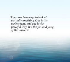 There are two ways to look at virtually anything. One is the violent way, and one is the peaceful way. It's the yin and yang of the universe.