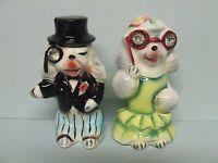 Vintage Anthropomorphic Opera Poodle/Dogs Dressed Up w/Rhinestones Salt & Pepper