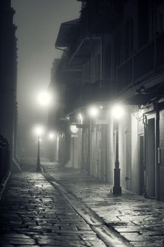 Pirates Alley, New Orleans fog. Black White Photos, Black And White Photography, Street Photography, Art Photography, Mists, New Orleans, Beautiful Places, Scenery, Around The Worlds