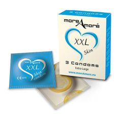 PRESERVATIVOS XXL MOREAMORE 3 UNIDADES Te presentamos los preservativos de la marca MOREAMORE con textura suave.  Los preservativos de la marca MOREAMORE, te ofrecen una relación intima segura. Los condeones MOREAMORE  son totalmente finos, transparentes y contienen deposito. Los preservativos MOREAMORE son ultrafinos.Fabricados con látex 100% natural. Se presentan en estuche con 3 preservativos