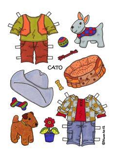 Karen`s Paper Dolls: Cato 1-2 Paper Dolls tp print in Colours. Cato 1-2 påklædningsdukke til at printe i farver.