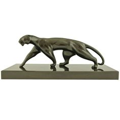 Art Deco Bronze Panther By Michel Decoux, France 1920.