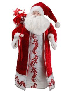 "26"""" Peppermint Twist Embroidered Santa Claus Christmas Figure"
