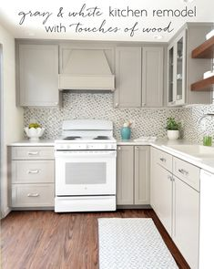 gray & white kitchen remodel with touches of wood by @centsationalgrl